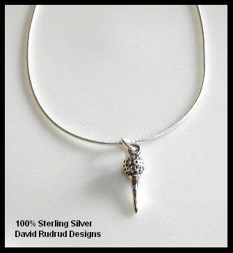 Solid Sterling Silver GOLF TEE Charm Necklace 18 Inches
