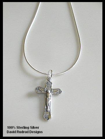 18 Inch 1st Communion Gift Sterling Silver CRUCIFIX Charm Necklace Jewelry