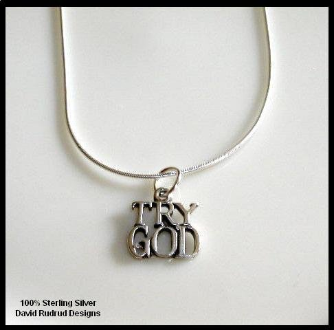Solid Sterling Silver TRY GOD Charm Necklace 18 Inches