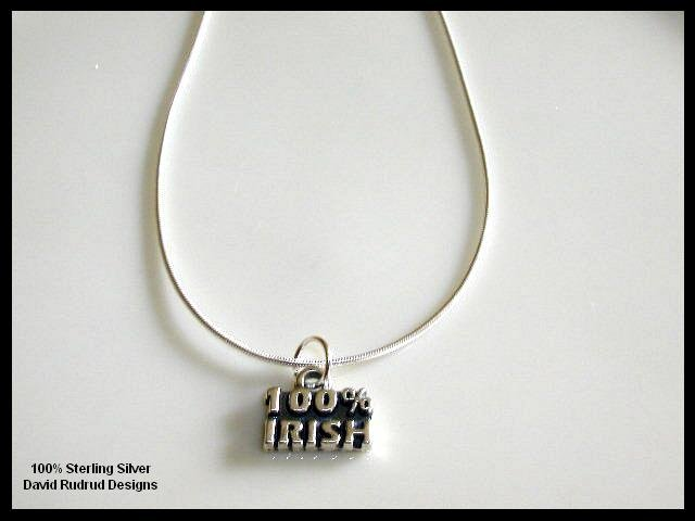 Solid Sterling Silver 100% IRISH Charm Necklace 18 Inches