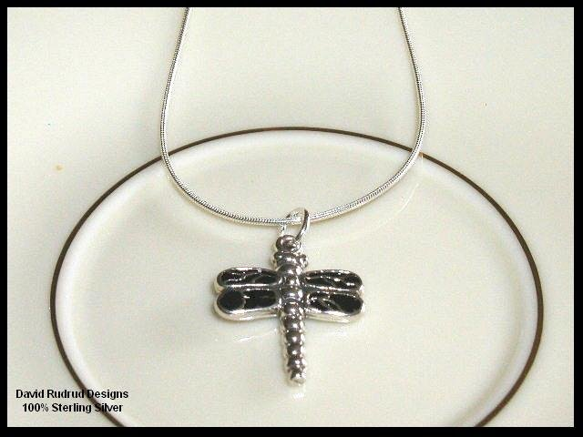 Solid Sterling Silver DRAGONFLY Charm Necklace 18 In.