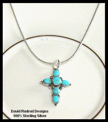 Solid Sterling Silver TURQUOISE CROSS Charm Necklace 18 In.