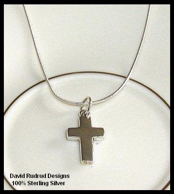 Solid Sterling Silver BLOCK CROSS Charm Necklace 18 In.