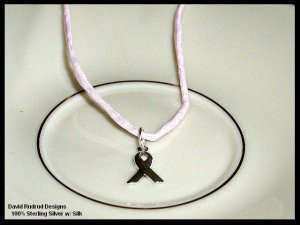 Pink Silk and Sterling BREAST CANCER AWARENESS Necklace 20 Inches