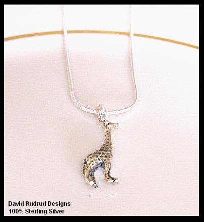 Solid Sterling Silver GIRAFFE Charm Necklace 18 In.