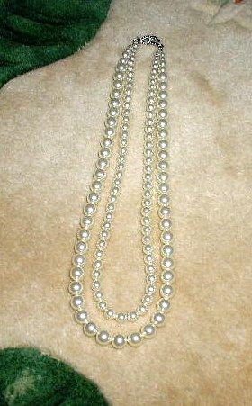 Bridesmaid Bride 2 Strand Swarovski Crystal Pearl Necklace 20 inches Wedding