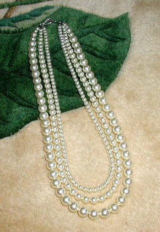 Bridesmaid Bride 3 Strand  Swarovski Crystal PEARL Necklace Wedding