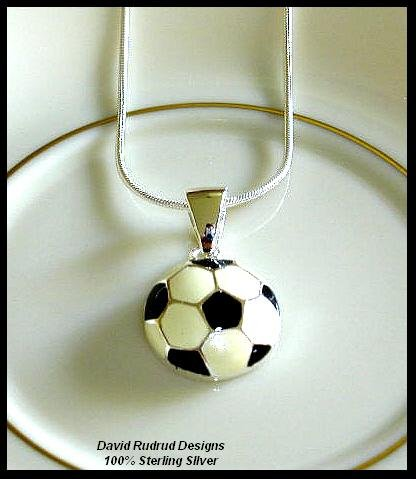 Solid Sterling Silver SOCCER Charm Necklace 18 Inches