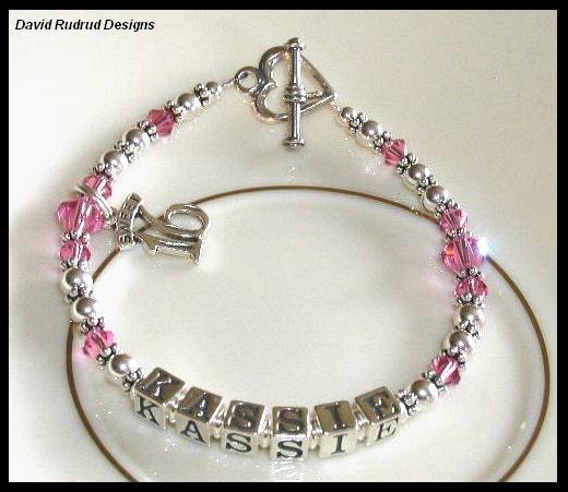 Custom SWEET 16 Girls Name Bracelet Swarovski Crystal and Sterling Silver
