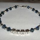 CLAY AIKEN Tribute Ankle Bracelet ANKLET  Beaded Crystal Sterling Silver