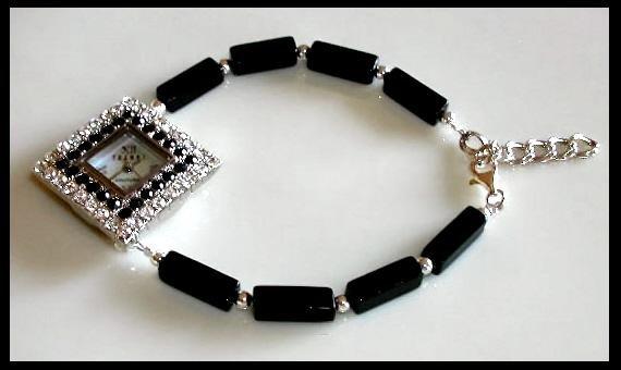 New TRENDZ Black Onyx Beaded Watch GIFT Jewelry