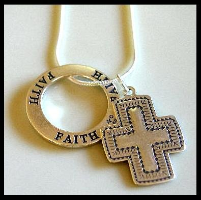 Solid Sterling Silver SANTA FE Cross FAITH Affirmation Charm Necklace 18 Inches