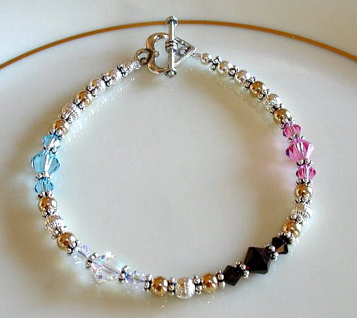 MOTHERS GIFT - Mother Grandmother Birthstone Childrens Bracelet Swarovski Sterling Silver