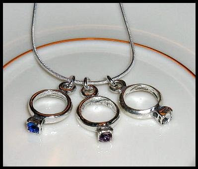 MOTHERS GIFT - 3 Baby Ring Birthstone Necklace Sterling Silver Jewelry