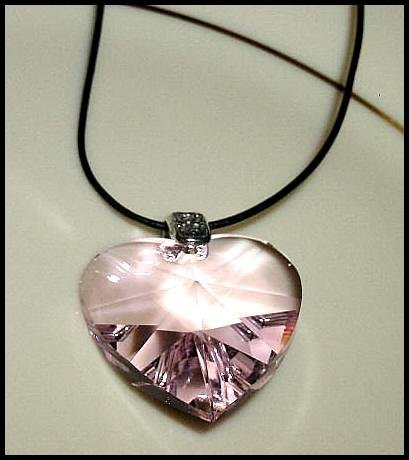 Swarovski Pink Crystal HEART NECKLACE Jewelry Leather MOTHERS Jewelry Gift