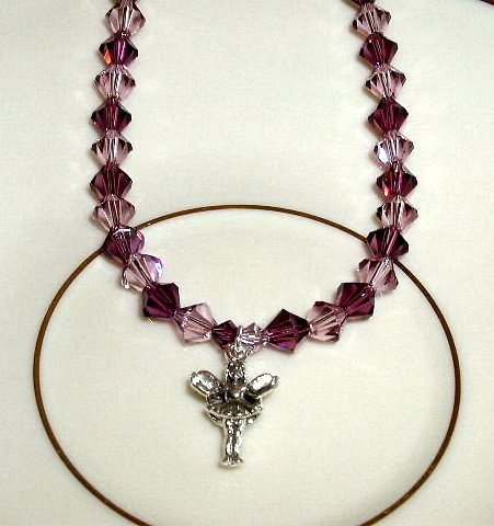 Purple FAIRY Swarovsky Crystal Necklace Sterling Silver 18 Inches