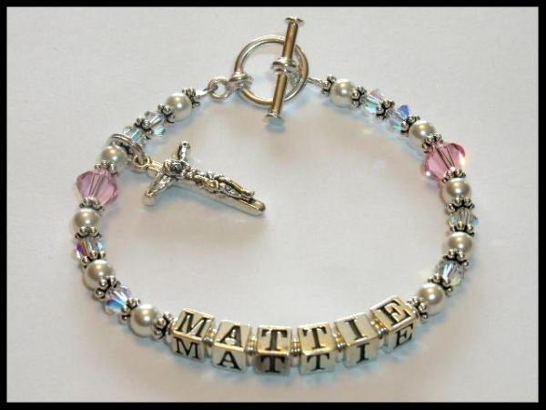 1st First Communion Gift Name Bracelet Sterling Crystal Pearl Jewelry