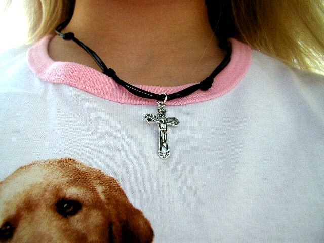 BOYS GIRLS 1st First Communion Knotted Black Leather Necklace with Crucifix