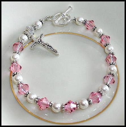 1st Communion Rosary Bracelet ~ Crucifix, Sterling Silver, Crystal and Pearl First Holy Communion