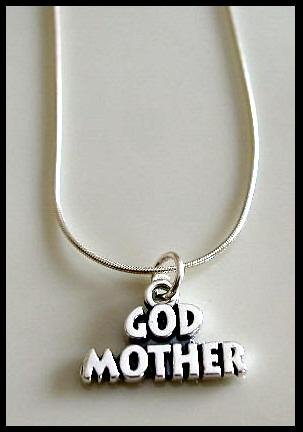 Solid Sterling Silver GODMOTHER Charm Necklace God Mother