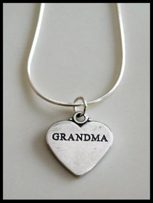 Solid Sterling Silver GRANDMA Grandmother Heart Charm Necklace