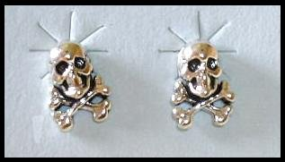 Solid Sterling Silver SKULL and Crossbones post earrings
