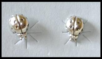 Solid Sterling Silver LADYBUG post earrings lady bug