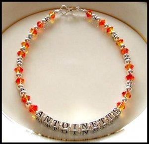 Personalized Name Anklet Swarovski Crystal Sterling Silver Ankle Bracelet
