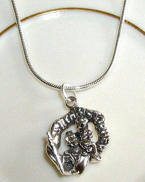 Solid Sterling Silver St. Saint Christopher Charm Necklace