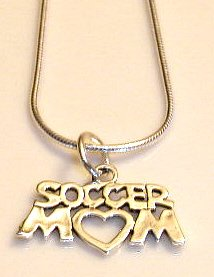 Solid Sterling Silver SOCCER MOM Charm Necklace