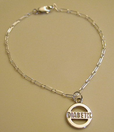 Solid Sterling Silver DIABETIC Awareness Charm Bracelet