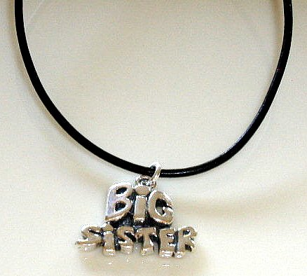Sterling BIG SISTER 18 Inch Italian Black Leather Necklace