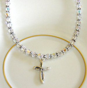 Clear Swarovski Crystal Sterling Silver Cross Necklace