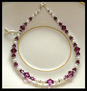 Pancreatic Cancer Awareness Ankle Bracelet Anklet Swarovski Crystal Sterling Silver