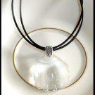 New Swarovski Crystal SHELL Pendant Necklace 18 Inches Leather