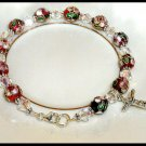 Boutique CLOISONNE and Swarovski CRYSTAL CATHOLIC ROSARY BRACELET Sterling Crucifix Lobster Clasp