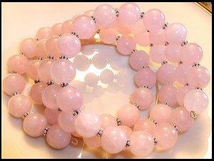 Rock Candy Pink Rose Quartz 4 Loop Bracelet 10mm