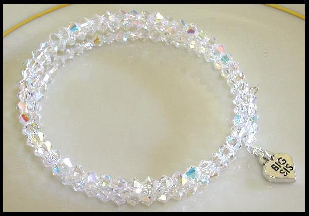 Sterling BIG SIS SWAROVSKI CLEAR AB 3 Strand Crystal Wrap Bracelet
