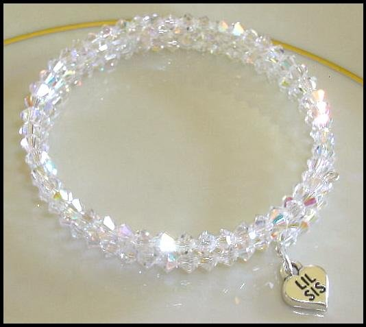 Sterling LIL SIS SWAROVSKI CLEAR AB 3 Strand Crystal Wrap Bracelet