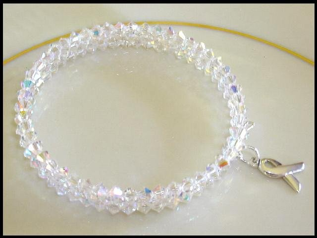Sterling AWARENESS SWAROVSKI CLEAR AB 3 Strand Crystal Wrap Bracelet