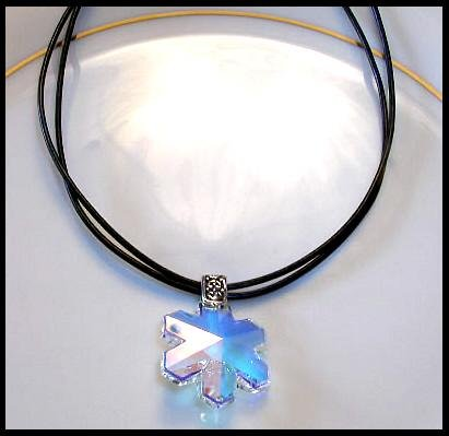 Dazzling Swarovski Crystal SNOWFLAKE Necklace 18 Inches Leather