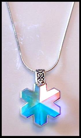 ONLY 1 Left! STERLING Swarovski Crystal AB Snowflake Necklace 18 Inches Sterling Silver