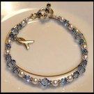 CUSTOM Cancer Awareness Bracelet with Swarovski Crystal & Sterling Silver