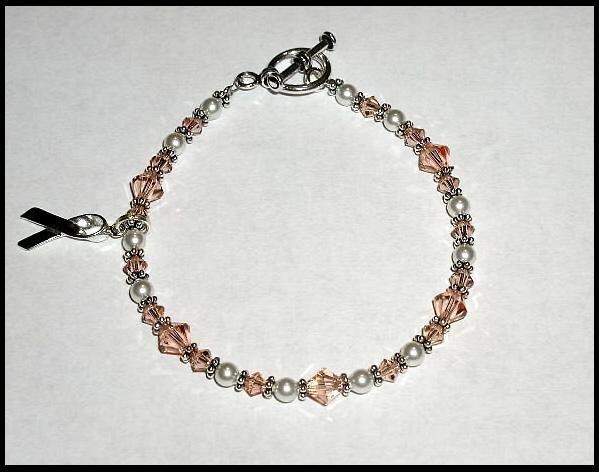 UTERINE Cancer Awareness Bracelet Swarovski Crystal Sterling Silver