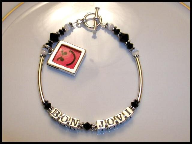 BON JOVI Smirky Guy Have A Nice Day Bracelet Crystal Sterling Silver
