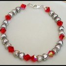 Birthstone Beaded Bracelet Swarovski Crystal Silver Tibetan Heart