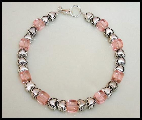 Cute Pink Cube Beaded Bracelet  Silver Tibetan Heart
