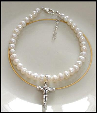 1st First Communion Gift Bracelet ~ Freshwater Pearl Sterling Silver Crucifix