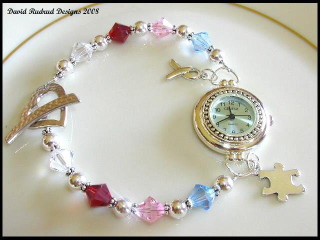 SALE! Autism Awareness Watch w/ Swarovski Crystal Sterling Siver
