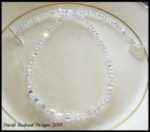 SWAROVSKI Cube & Round 18 Inch CLEAR AB Crystal Necklace Sterling Silver